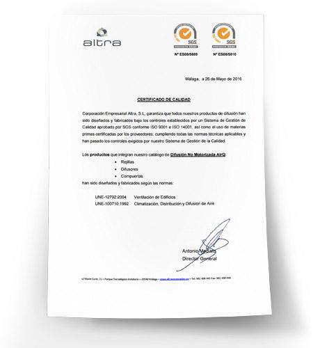 Certificado de Calidad de Difusión