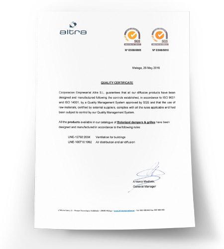 Certificado de Calidad de Difusión Motorizada